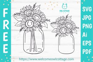 Sunflowers in a Mason Jar SVG file for Cutting Mashines. Free for personal and commercial use