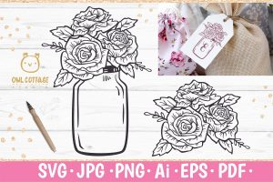 Mason Jar with Roses SVG file for DIY Gift tags