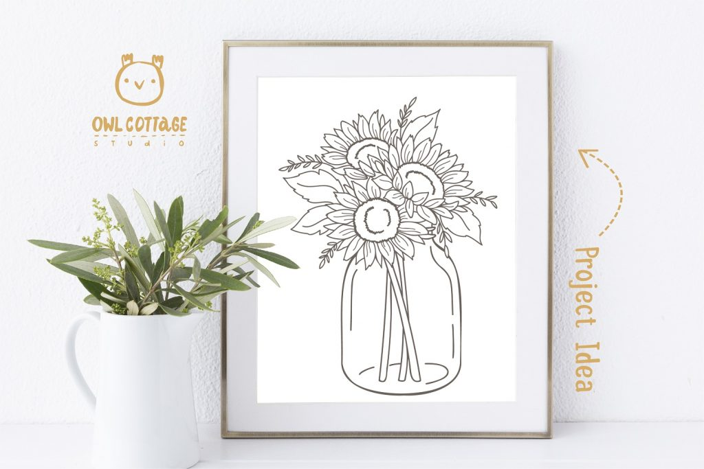 Sunflowers in a Mason Jar SVG file for DIY Poster decor