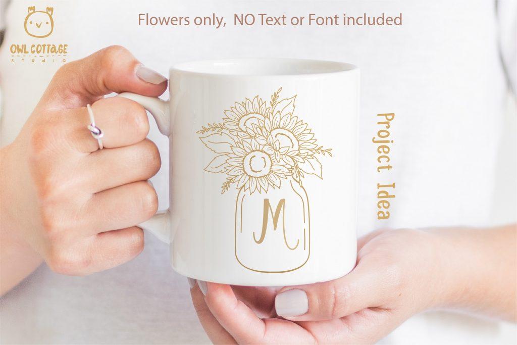 Sunflowers in a Mason Jar SVG file for DIY Mug decor