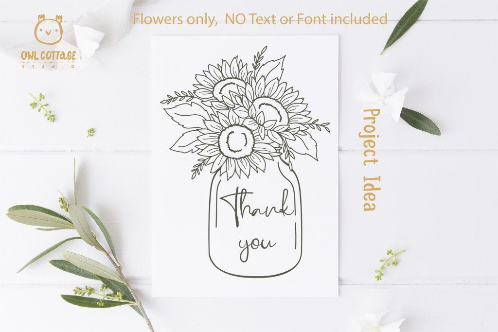 Sunflowers in a Mason Jar SVG file for DIY Thank you Card decor