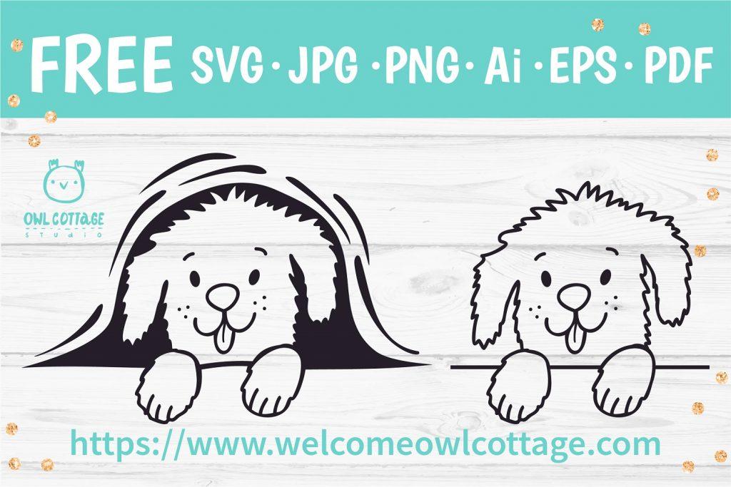 Cute Peeking Dog SVG