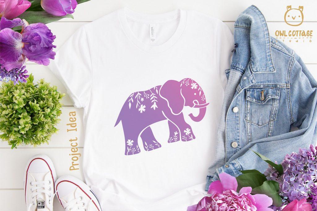 FREE Elephant SVG Cut File for T-shirt