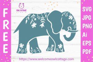 FREE Elephant SVG Cut File, FREE Elephant SVG, free mandala Elephant clipart, Elephant SVG files for Cricut, Elephant Vector, free shirt design, free svg, SVG File for Cricut
