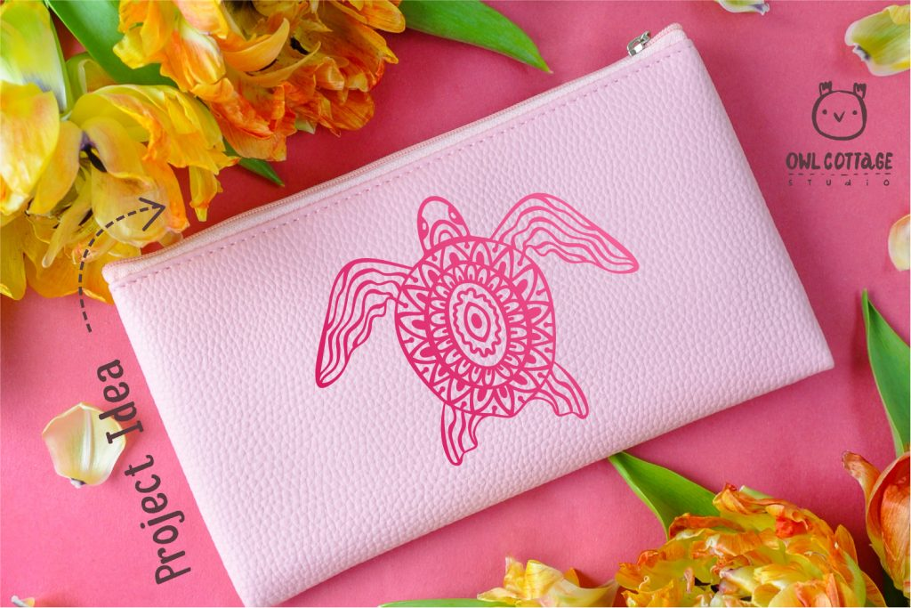 FREE Sea Turtle SVG Cut File for Cosmetic Bag