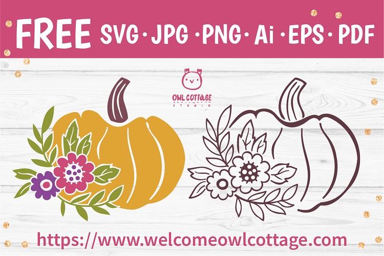 Decorative Bright Floral Pumpkin SVG Cut File