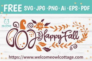 Free Happy Fall and Pumpkin Decorative SVG