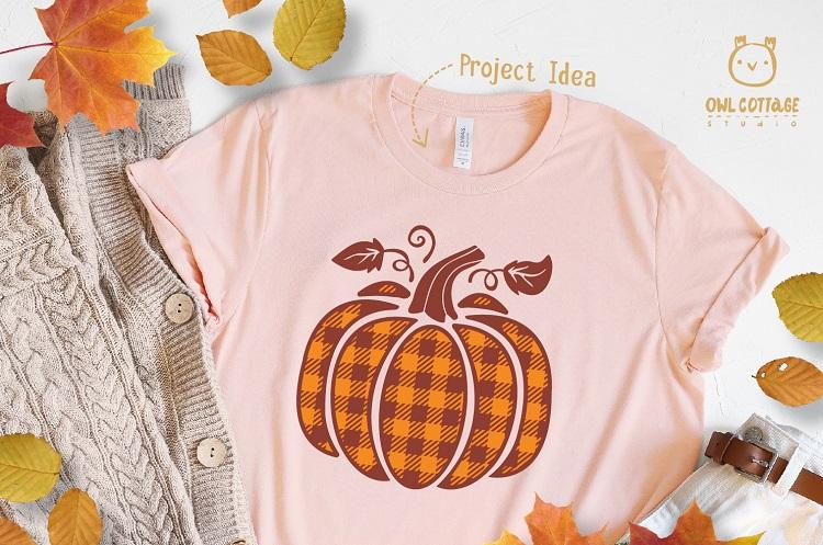 FREE Plaid Pumpkin svg cut file Fall for T-Shirt