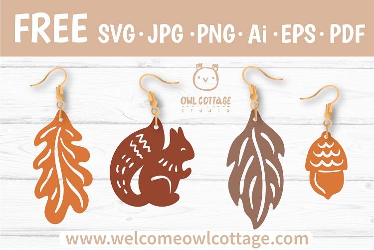 FREE Fall Forest Earrings Templates svg. Squirrel, Oak leaf, Fall leaf, Acorn