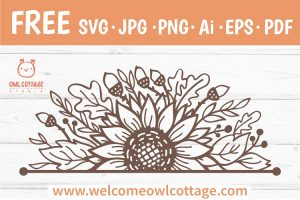 FREE Fall Sunflower Border svg, Floral Fall Forest cut file