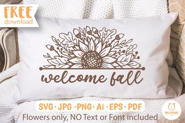 FREE Fall Sunflower Border svg for Pillow Case