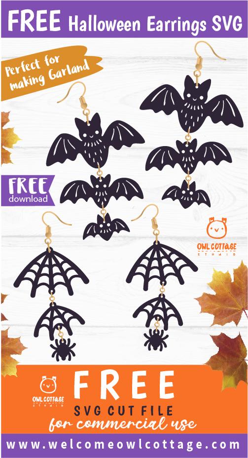FREE Halloween Earrings Templates svg, Halloween Garland cut file