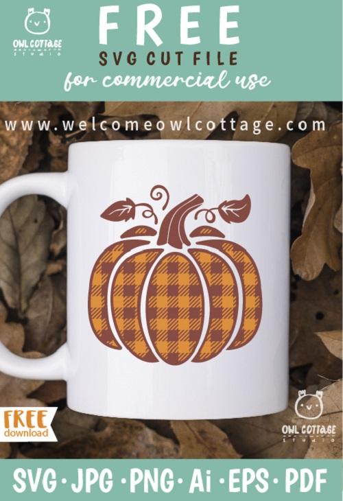 FREE Plaid Pumpkin svg for personalized Mug